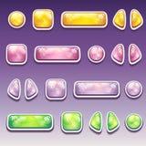 Grand ensemble de boutons colorés de bande dessinée de différentes formes pour Photographie stock libre de droits