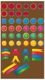Grand ensemble de boutons lustrés de couleur. Images libres de droits