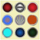 Grand ensemble de boutons lustrés de couleur. Image stock