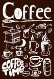 Grand ensemble de café sur le fond brun Images stock