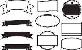 Grand ensemble de calibres solides noirs de style pour les tampons en caoutchouc ronds a Images stock