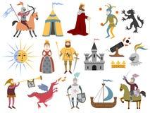 Grand ensemble de caractères médiévaux et d'attributs médiévaux o de bande dessinée illustration de vecteur