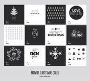Grand ensemble de cartes noires et blanches carrées d'hiver Photographie stock