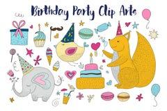 Grand ensemble de cliparts (images graphiques) de vecteur de fête d'anniversaire Animaux et éléments tirés par la main mignons de illustration stock