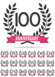 Grand ensemble de collection de calibre Logo Anniversary Vector Illustration Images stock