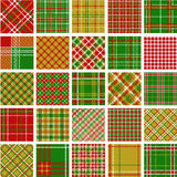Grand ensemble de configurations de plaid de Noël Photographie stock libre de droits