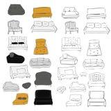 Grand ensemble de divan Illustration dessinée par Vecthand Projets d'intérieurs Photos libres de droits
