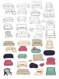 Grand ensemble de divan Illustration dessinée par Vecthand Projets d'intérieurs Photo stock
