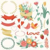 Grand ensemble de fleurs, feuilles, branches, guirlandes, labels, coeurs Illustration Stock