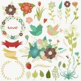 Grand ensemble de fleurs, feuilles, branches, guirlandes, labels, coeurs Illustration de Vecteur