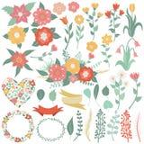 Grand ensemble de fleurs, feuilles, branches, guirlandes, labels, coeurs Illustration Libre de Droits