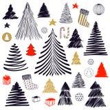 Grand ensemble de griffonnage d'arbre de Noël Illustration tirée par la main de croquis de graphique de vecteur Éléments courants photos stock