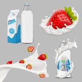 Grand ensemble de lait entier, versant et éclaboussant l'illustration réaliste du vecteur 3d illustration libre de droits