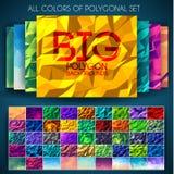 Grand ensemble de milieux colorés polygonaux Concept géométrique d'art, technologie, nature, couleurs, motifs, éléments Vecteur Photographie stock libre de droits