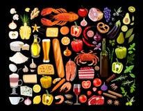 Grand ensemble de nourriture illustration de vecteur