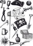 Grand ensemble de pirate illustration de vecteur