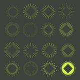 Grand ensemble de rétros formes d'éclat de Sun Logo de vintage, labels, insignes Photo libre de droits