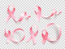 Grand ensemble de rubans roses d'isolement au-dessus du fond transparent Symbole de mois de conscience de cancer du sein en octob illustration libre de droits