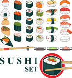 Grand ensemble de sushi Photographie stock