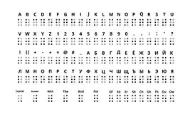 Grand ensemble de véritable alphabet de signes de Braille de taille, latin et cyrillique illustration de vecteur