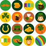 Grand ensemble de vecteur d'icônes de jour de Patricks de saint Images stock
