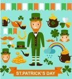 Grand ensemble de vecteur d'icônes de jour de Patricks de saint Image stock