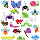 Grand ensemble de vecteur d'insectes mignons de bande dessinée Image libre de droits