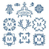 Grand ensemble de vecteur de la ligne éléments de conception florale pour des logos, des cadres et des frontières Photo libre de droits