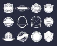 Grand ensemble de vecteur de labels de vintage, éléments de logo de hippie, rubans, calibre de logotype illustration stock