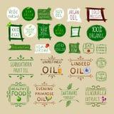 Grand ensemble de VECTEUR de différents labels sains de consommation illustration stock