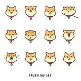 Grand ensemble de vecteur de shiba d'inu de tête d'autocollants mignons d'émotions Image stock