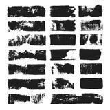 Grand ensemble de zone de texte rectangulaire Rayure grunge de peinture Course de brosse de vecteur Taches grunges noires avec l' illustration de vecteur