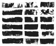 Grand ensemble de zone de texte rectangulaire Rayure grunge de peinture Course de brosse de vecteur Taches grunges noires avec l' images stock