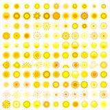 Grand ensemble du soleil différent au-dessus du blanc Photos libres de droits