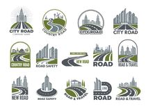 Grand ensemble monochrome de calibre de logotypes avec les routes goudronnées, l'autoroute urbaine ou la route illustration de vecteur