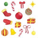Grand ensemble peint à la main de Noël de jouets d'aquarelle Décoration d'an neuf Image libre de droits