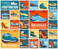 Grand ensemble plat de collection d'illustration d'usage de chaussure classique, rétro, tendance, milieux de style de sport Conce Photographie stock