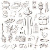 Grand ensemble pour jouer un magicien Magicien de choses : magicien, chapeau, livre magique, rouleau, breuvage magique, balai, bo illustration libre de droits