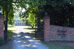 Grand entrance gravel drive Belmont Antebellum Plantation stock photography