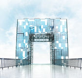 Grand entrance through modern gateway architecture Stock Photography