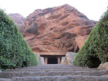 Grand entrance to the cave temple ! Stock Photos