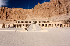 Grand entrance to Hatshepsut's temple. The entrance to the ancient temple of Hatshepsut in Luxor, Egypt stock photography