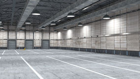Grand entrepôt moderne avec quelques marchandises Photographie stock libre de droits