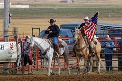 The Grand Entry of a regional rodeo stock photos