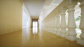 Grand escalier de marbre blanc de luxe de théâtre Hall du palais rendu 3d Image libre de droits