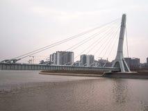 Grand et nouveau pont câble-resté accrochant au-dessus de la rivière sur le fond des bâtiments en construction Images libres de droits