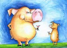 Grand et petit porc avec des verres Image libre de droits
