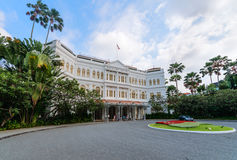 Grand facade of the luxurious Raffles Hotel in downtown Singapore Royalty Free Stock Photo