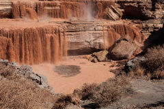 Grand Falls Chocolate Falls  is northeast of Flagstaff, Arizona. Stock Photo