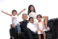 Grand father with four children. Happy grand children with grand father royalty free stock photography